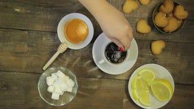 La cuillère femelle d'émoi de main a brassé le thé frais Vue de ci-avant banque de vidéos