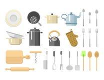 La cuisine bombe l'illustration quotidienne de meubles de plats d'isolement par icônes plates d'équipement de ménage de vecteur illustration libre de droits