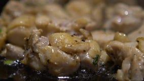 La cuisine de mouvement lent chiken Faites cuire un cru chiken la viande sur le gril dans une cuisine banque de vidéos