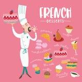 La cuisine française carte Un ensemble de plats français illustration stock