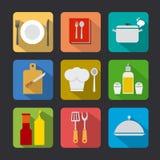 La cuisson de l'icône a placé l'appartement Photo libre de droits