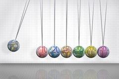 La culla di Newton con le euro palle di simbolo Immagine Stock Libera da Diritti