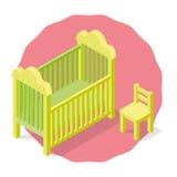 La cuna y la silla de los niños aislados Fotografía de archivo libre de regalías