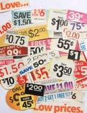 La cupón ofrece precios bajos Imagen de archivo