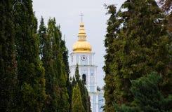 La cupola con l'incrocio e l'orologio di Christian Church circondato da un corridoio degli alberi - arborvitaes coniferi verdi Fotografie Stock Libere da Diritti