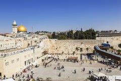 La cupola della moschea e della parete lamentantesi della roccia a Gerusalemme Fotografia Stock Libera da Diritti