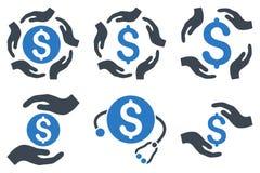 La cura del dollaro passa le icone piane di glifo Fotografia Stock