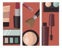 La cura della mascara del profumo delle carte di trucco spazzola il vettore accessorio femminile del fascino dell'ombretto affron illustrazione vettoriale