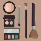 La cura della mascara del profumo delle icone di trucco spazzola il vettore accessorio femminile del fascino dell'ombretto affron illustrazione vettoriale