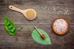 La cura di pelle e casalingo alternativi sfrega con naturale ingredien Fotografie Stock