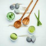 La cura e l'ente di pelle casalinghi sfrega con l'ingrediente naturale verde Fotografie Stock Libere da Diritti
