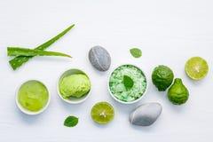 La cura e l'ente di pelle casalinghi sfrega con l'ingrediente naturale verde Immagine Stock