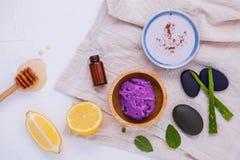 La cura e l'ente di pelle casalinghi sfregano con il limone naturale degli ingredienti Fotografia Stock Libera da Diritti