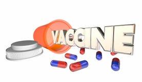 La cura vaccino delle pillole dell'antidoto incapsula la bottiglia della medicina illustrazione di stock