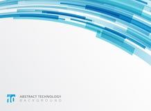 La curva astratta della tecnologia sovrapponeva la forma geometrica dei quadrati blu royalty illustrazione gratis