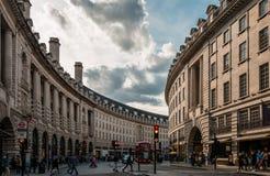 La curva en Regent St imágenes de archivo libres de regalías