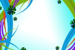 la curva variopinta allinea con il fiore verde, fondo astratto Immagini Stock