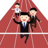 La curvatura e la holding asiatiche dell'uomo d'affari della concorrenza concept Immagine Stock Libera da Diritti
