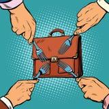 La curvatura e la holding asiatiche dell'uomo d'affari della concorrenza concept illustrazione di stock