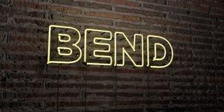 La CURVATURA - insegna al neon realistica sul fondo del muro di mattoni - 3D ha reso l'immagine di riserva libera della sovranità illustrazione di stock