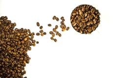 La cuvette de café et d'haricots Images libres de droits