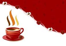 La cuvette de café fraîche aromatique avec des coeurs conçoivent illustration stock