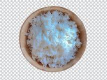 La cuvette en bois est remplie du riz image stock