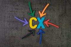 La CX, concetto di esperienza del cliente, frecce variopinte indicante l'alpe immagine stock libera da diritti
