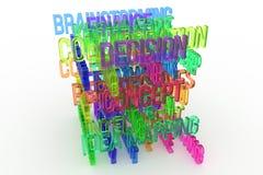 La décision, concept, les affaires 3D coloré conceptuel a rendu des mots Style, Web, texte et communication illustration libre de droits