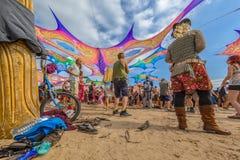 La décoration chausse faire la fête de bicyclette et de personnes Images libres de droits