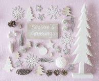 La décoration de Noël, configuration plate, texte assaisonne des salutations, flocons de neige Photo stock