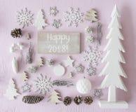 La décoration de Noël, configuration plate, textotent 2018 heureux Photo libre de droits