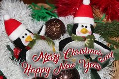 La décoration de Noël pour des cartes postales ou les étiquettes marient des cristmas Image libre de droits