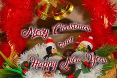 La décoration de Noël pour des cartes postales ou les étiquettes marient des cristmas Photographie stock libre de droits