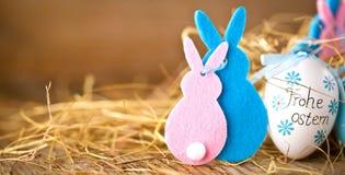 La décoration de Pâques eggs le lapin mignon Joyeuses Pâques Style t de cru images libres de droits