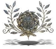 La décoration en bronze florale et de lion de modèle avec l'ombre a isolé o Photos stock