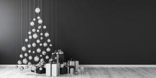 La décoration et les cadeaux 3D de Noël rendent faux haut Photo stock