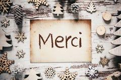 La décoration nostalgique de Noël, papier, moyens de Merci vous remercient image libre de droits