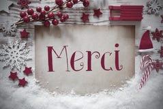 La décoration rouge de Noël, neige, moyens de Merci vous remercient photos stock
