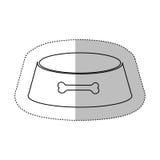 La découpe monochrome avec l'autocollant moyen d'ombre et la sphère de dialogue avec l'animal familier roulent Images stock