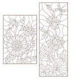 La découpe a placé avec des illustrations de verre souillé avec des fleurs, des tournesols et des fleurs de Lotus avec les libell Images stock