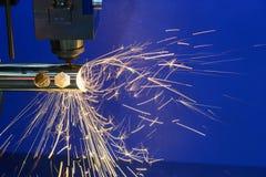 La découpeuse de laser de fibre de commande numérique par ordinateur Photographie stock