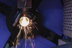 La découpeuse de laser de tube ou de tuyau Photographie stock
