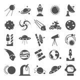 La découverte et l'exploration des icônes simples de l'espace réglées illustration de vecteur