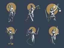 La déesse du juge Themis positionnement Vecteur illustration de vecteur