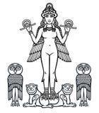 La déesse stylisée Ishtar illustration de vecteur