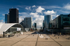 La Défense. View to the Arc de Triomphe from La Grande Arche de la Défense (Paris, France). 5 October 2012 Stock Photo