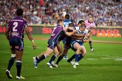 La défense de rugby Photo libre de droits