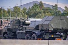 La défense de Swedesh simulent l'attaque russe de militaires Image stock