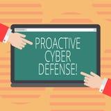 La défense proactive de Cyber des textes d'écriture de Word Concept d'affaires pour que l'anticipation s'oppose à une attaque imp illustration stock